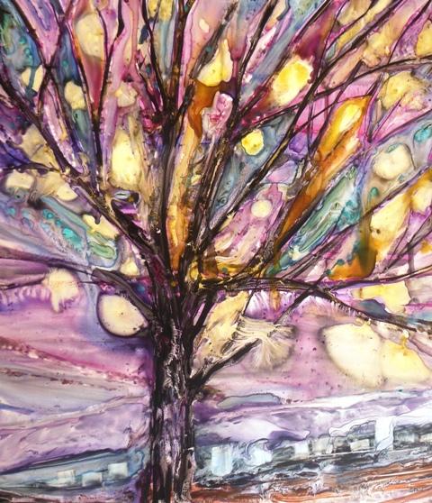 Christine Louzé aquarelle arbre vitrail yupo