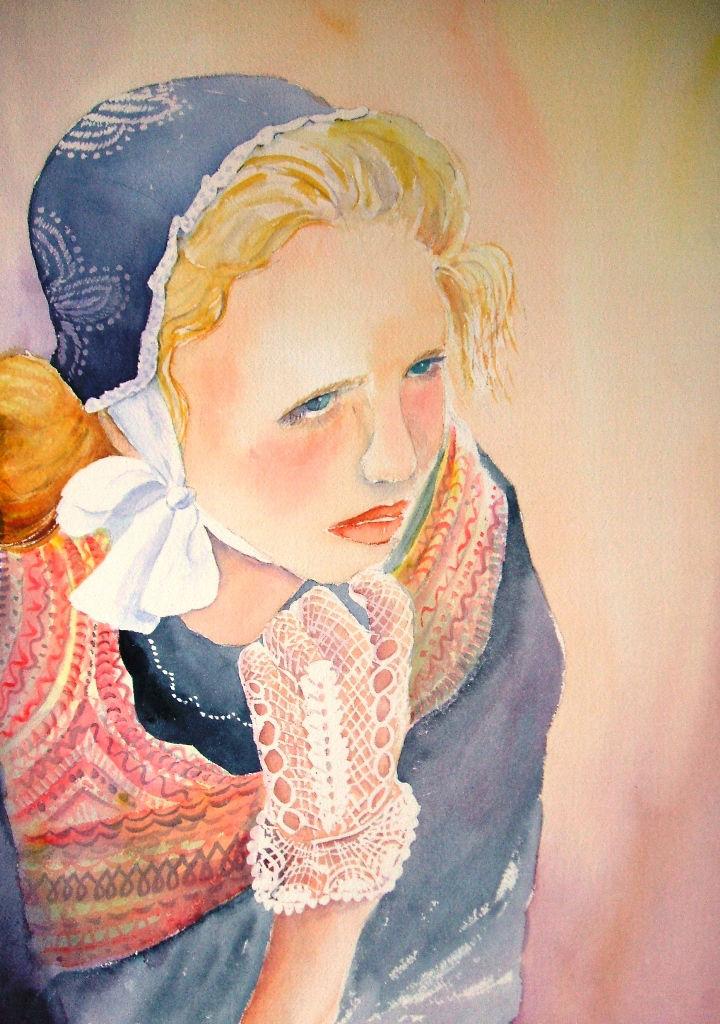 aquarelle bretonne gant en dentelle