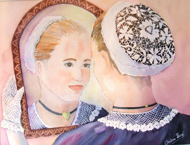 aquarelle bretonne coiffe dentelle et miroir ..;
