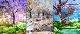 christine Louzé 3 aquarelles arbres sur yupo