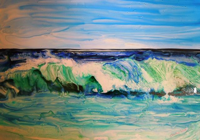 Christine Louzé , les couleurs de la mer ,aquarelle sur yupo ,