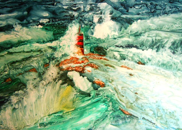 christine Louzé ,Mer sauvage ,aquarelle sur yupo