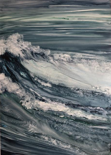 christine Louzé aquarelle sur yupo Reflet d`iroise