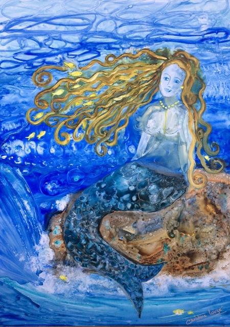 Christine Louzé aquarelle sur yupo 50X70cm