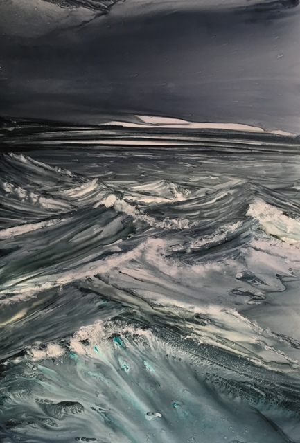 Christine LOUZE Sous l`orage Aquarelle sur yupo