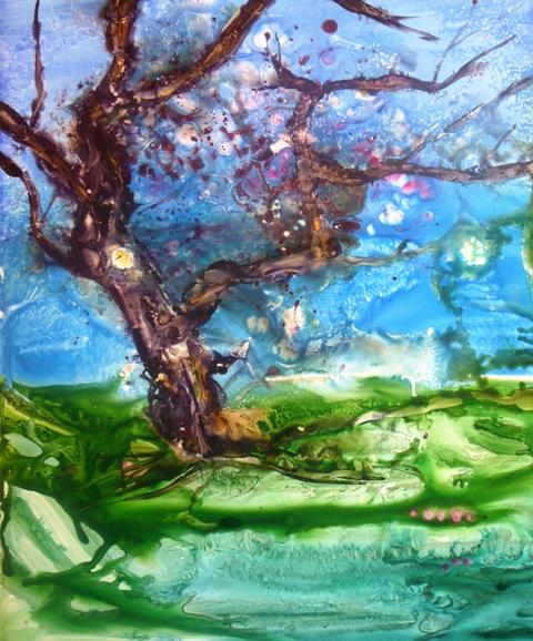 Christine Louzé Clair de lune aquarelle sur papier yupo