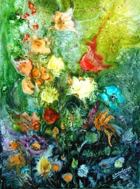 christine Louzé jardin extraordinaire aquarelle sur yupo