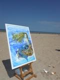 Sirène sur la plage d`Houlgate ...aquarelle sur yupo Christine Louzé