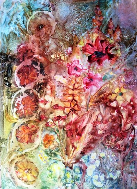 christine Louzé ,jardin magique aquarelle sur Yupo
