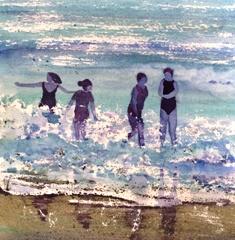 christine Louzé ,aquarelle les baigneuses