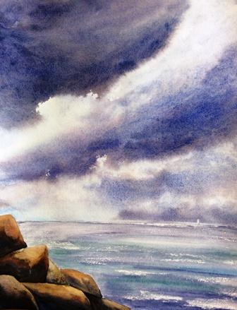 CHRISTINE LOUZE aquarelle NUAGES sur la côte NORMANDE