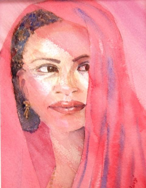 portrait aquarelle Mahoraise