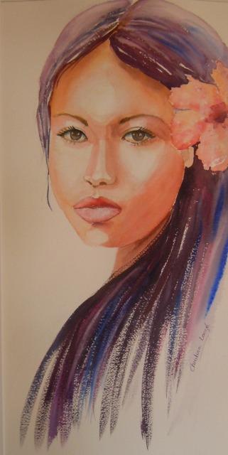 portrait aquarelle Polynésie  avec hibiscus