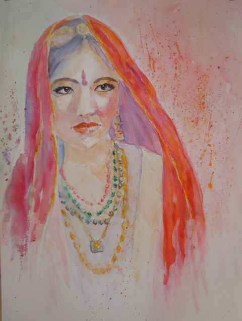 portrait aquarelle India