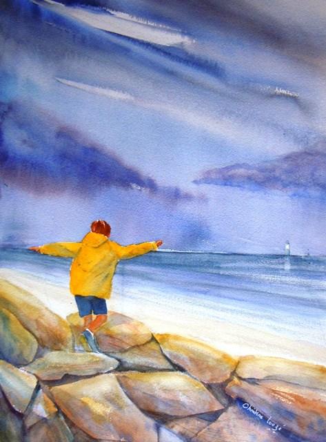 christine Louzé aquarelle sur les rochers